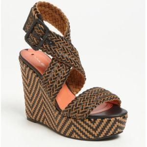 Via Spiga Leather Platform Ankle Wedge